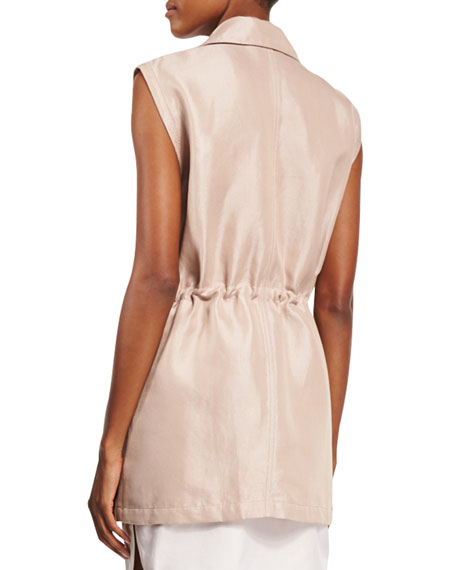 Button-Front Drawstring Utility Vest, Blush