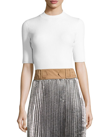 Ribbed Open-Back Sweater, White