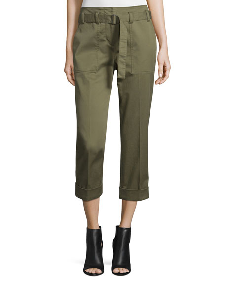 Cropped Belted Utility Pants, Olive