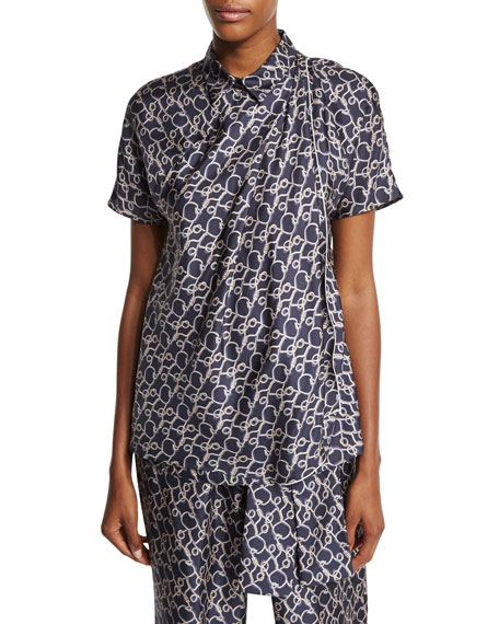 Short-Sleeve Printed Silk Blouse, Phantom Blue