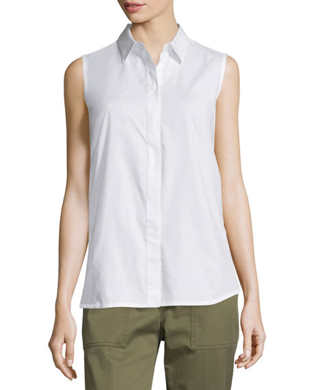 Sleeveless Back-Overlay Poplin Blouse, White