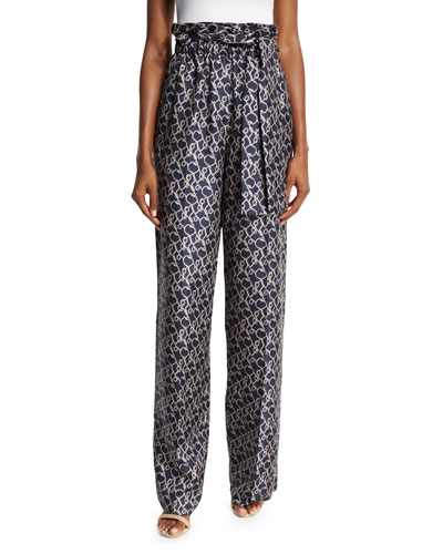 Printed High-Rise Silk Wide-Leg Pants, Phantom Blue