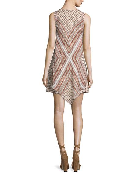 Sleeveless Mitered Multipattern Dress, Cream/Multicolor