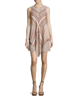 Sleeveless Mitered Multipattern Dress, Cream/Multicolor