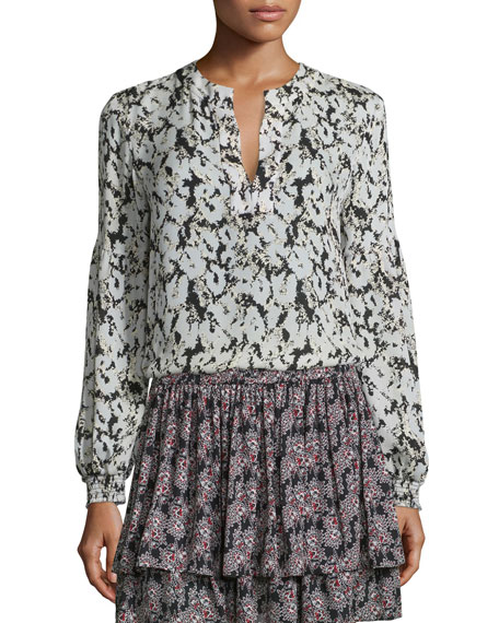 Long-Sleeve Floral Silk Blouse, Black/White