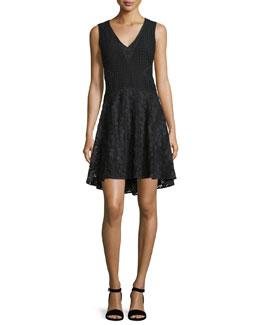 Fiorenza Sleeveless Lace A-Line Dress, Black