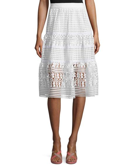 Diane von Furstenberg Tiana Tiered Lace A-Line Skirt,
