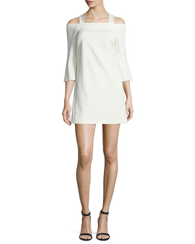 Cold-Shoulder Faille Mini Lantern Dress, Ivory