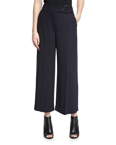 Emily Belted Gaucho Pants, Navy