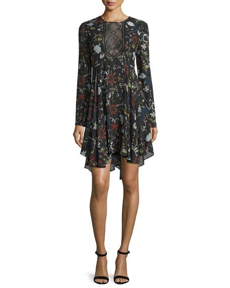 Cynthia Long-Sleeve Floral Silk A-Line Dress, Black/Multicolor