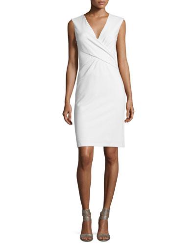 Leora Sleeveless Crepe Sheath Dress, White
