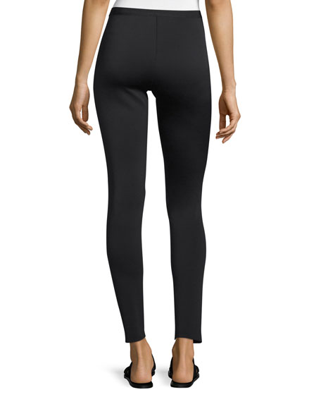 Cropped Neoprene Stretch Leggings, Black