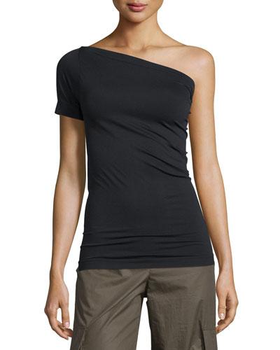 One-Shoulder Stretch-Knit Tee, Black