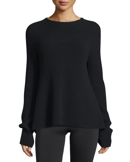 Helmut Lang Ribbed Tie-Back Sweater, Black