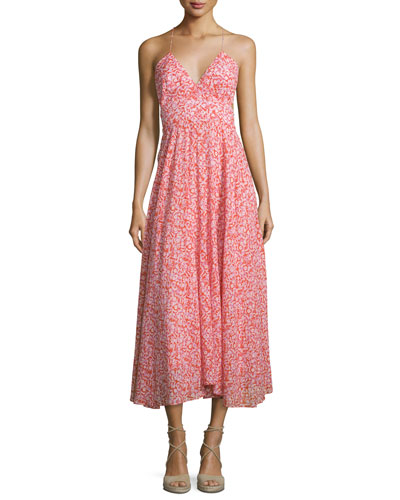 Sleeveless Floral Silk Midi Dress, Red