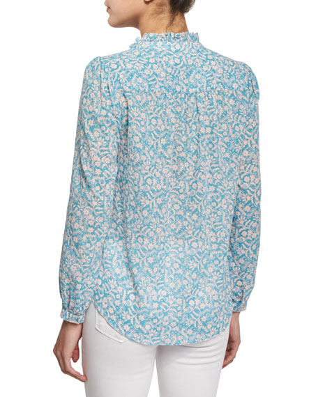 Button-Front Floral-Print Semisheer Blouse, Turquoise/Combo
