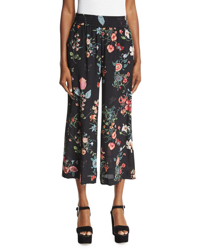 Meadow Floral Silk Pants, Black/Multicolor