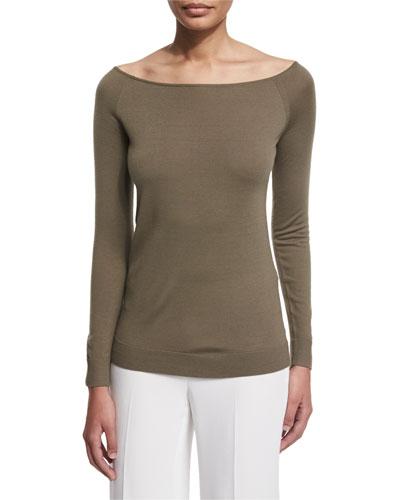 Ebliss Refine Wool Wide-Neck Sweater