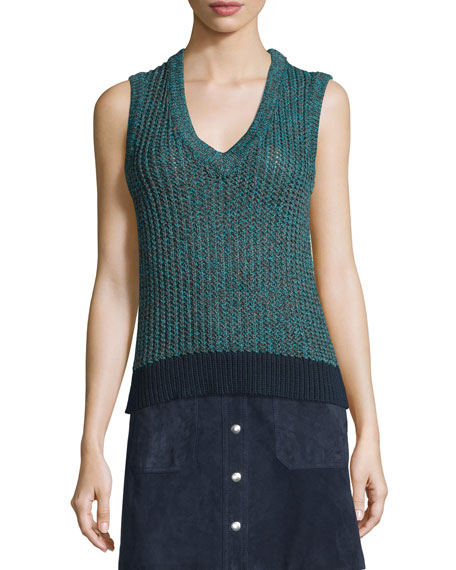 Carmen Colorblock Cable-Knit Tank, Teal