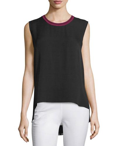Romy Silk Tank w/ Tipped Contrast, Black