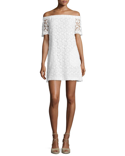 Bolen Off-the-Shoulder Embroidered Mini Dress, Ivory