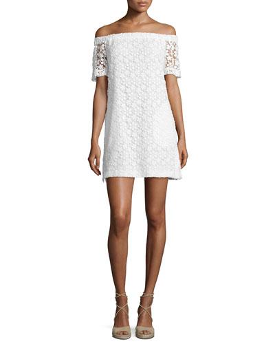 Bolen Off-the-Shoulder Embroidered Mini Dress, Ivory
