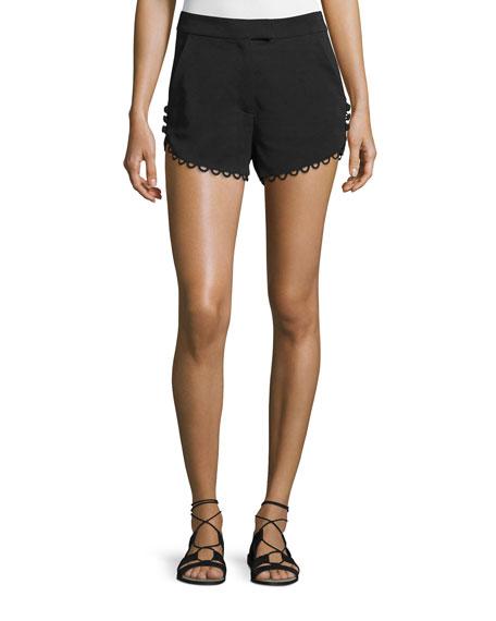 A.L.C. Lucas Scalloped Crepe Shorts, Black
