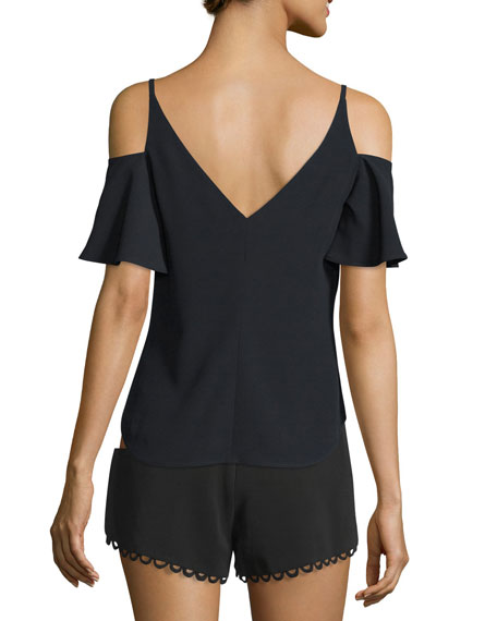 Olivia Crepe Cold-Shoulder Top, Black