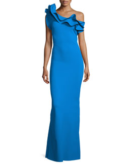 Elise One-Shoulder Ruffle Stretch Jersey Gown, Blue