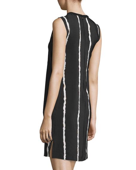 Sleeveless Striped Silk Shift Dress, Black/White