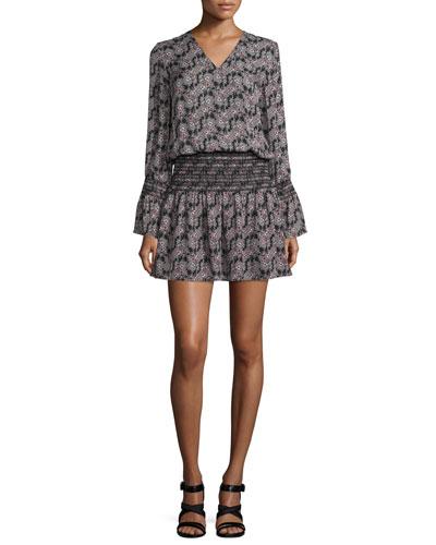 Long-Sleeve Smocked V-Neck Dress, Black/Multicolor