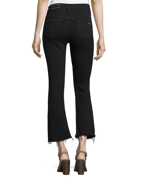 Mid-Rise Cropped Flare-Leg Jeans, Black Coal