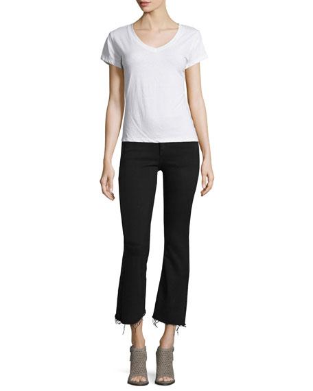 Mid-Rise Cropped Flare-Leg Jeans, Black Coal