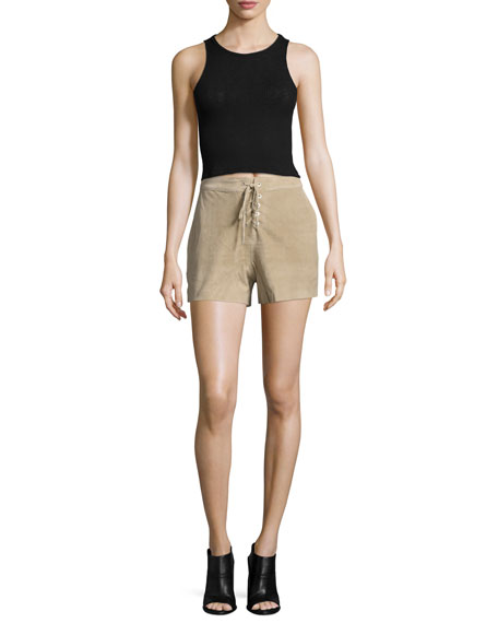 Suede Lace-Up Shorts, Stone