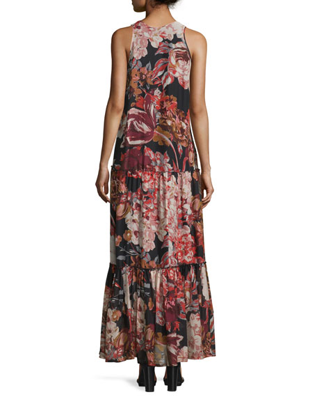 Izzie Floral Silk Maxi Dress, Multicolor