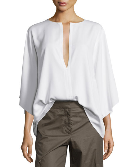 Silk Square Caftan Top, Optic White
