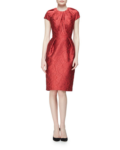 Cap-Sleeve Structured Floral Sheath Dress, Red