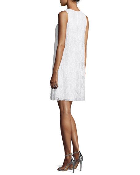 Sleeveless Beaded Lace Swing Dress, Ivory