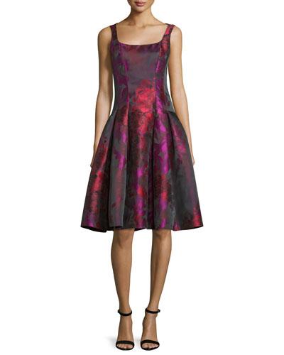 Sleeveless Floral Taffeta Dress, Fuchsia