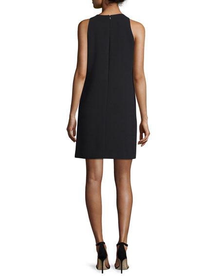 Sleeveless Crepe Tile-Print Shift Dress, Black