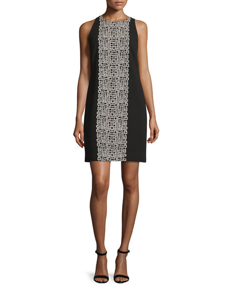 Sleeveless Crepe Tile-Print Shift Dress, Black