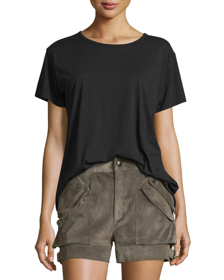 Open-Back Jersey Tee, Black