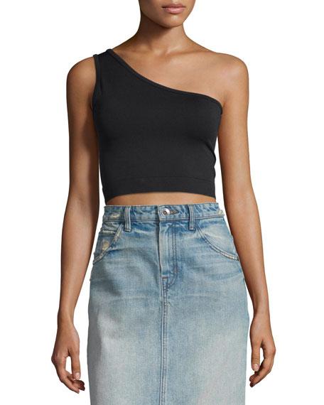One-Shoulder Cropped Stretch-Knit Bra Top, Black