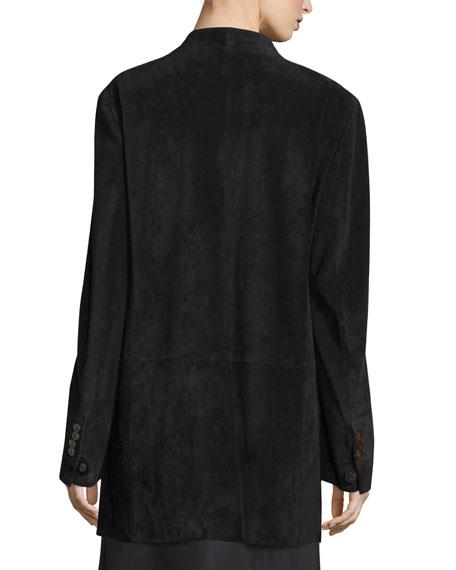 Suede Shawl-Collar Blazer, Black