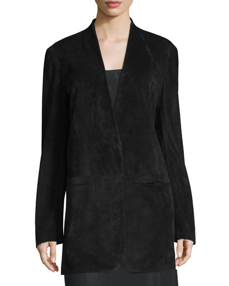 Suede Shawl-Collar Blazer, Black