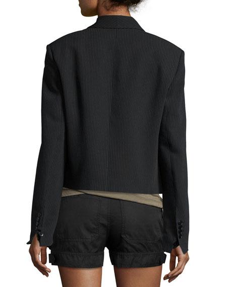 Ribbed Shawl-Collar Cropped Jacket, Black