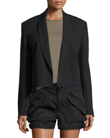 Helmut Lang Ribbed Shawl-Collar Cropped Jacket, Black