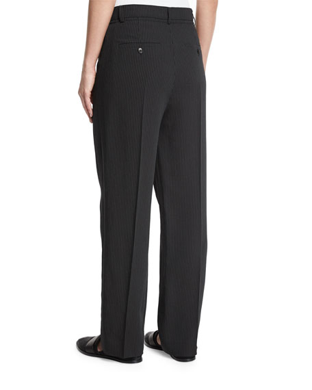 Striped Wide-Leg Crepe Pants, Black/Ivory