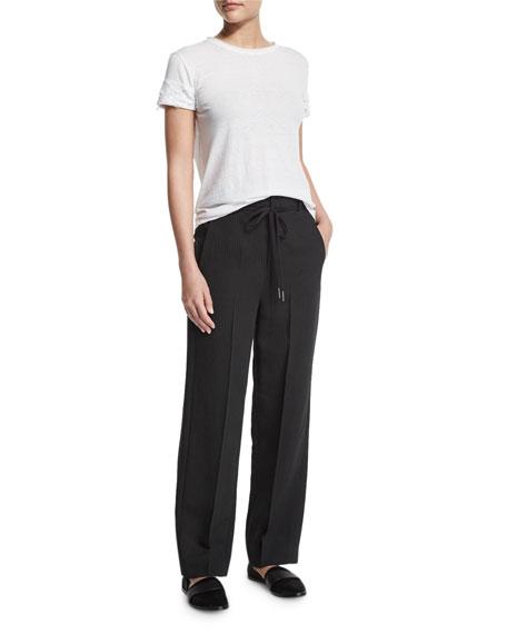 Striped Wide-Leg Crepe Pants, Black/Ivory