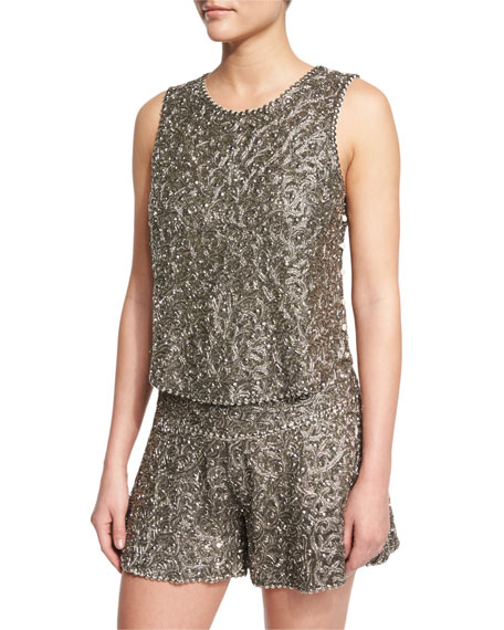 Haute Hippie Marisa Beaded Silk Tank, Gunmetal